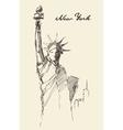 Statue Liberty drawn vintage sketch vector image