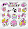 baby shower decoration set with girl toys vector image vector image