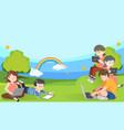 banner with primary school kids useing tablet vector image vector image