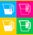 beaker sign four styles of icon on four color vector image vector image