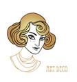 beautiful girl in art deco style retro fashion vector image vector image