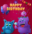 birthday poster with blue and purple monsters vector image vector image
