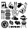 Black barbecue food flyer BBQ icons vector image vector image
