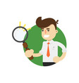 businessman with magnifying glass icon vector image