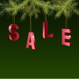 Christmas sale red tags over green background vector image