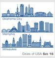 cities usa - oklahoma city memphis milwaukee vector image vector image