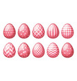 collection eggs with geometric patterns happy vector image vector image