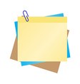colorful post it with blue clip vector image vector image