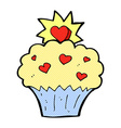 comic cartoon love heart cupcake vector image vector image