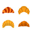 croissant icon set flat style vector image vector image