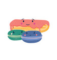 cute eclair and macaroons flat vector image
