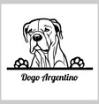 dog head dogo argentino breed black and white vector image vector image