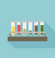 five multicolor test tubes with green blue orange vector image vector image