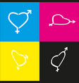 gender signs in heart shape white icon vector image vector image