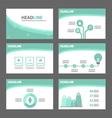 Green wave presentation templates Infographic set vector image