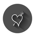 hand drawn hearts icon love with long shadow vector image vector image
