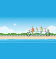 happy family cycling tandem bicycle on beach vector image vector image