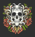 human skull with rose flowers on triangle shape vector image vector image