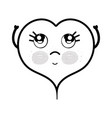 line kawaii cute thinking heart design vector image vector image
