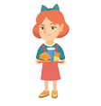 little caucasian girl holding tray with fast food vector image vector image