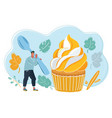 man with big spoon going to eat big cupcake vector image vector image