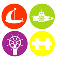 monochrome icon set with sea transport vector image