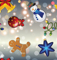New year pattern with snowman gingerbread man bell vector image