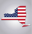 new york ny state shape with usa flag vector image vector image