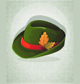 oktoberfest hat with oak leaves vector image