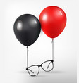 optical glasses attached to red and black balloon vector image vector image