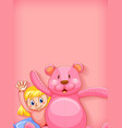 plain background with girl and pink teddybear vector image