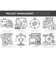 Project management line icon set vector image