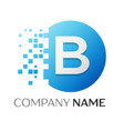 realistic letter b logo in colorful circle vector image vector image