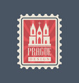 rectangular postage stamp with prague church of vector image vector image