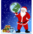 santa claus with presents and holding earth vector image