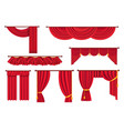 scarlet pompous curtains collection on white vector image vector image