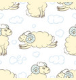 seamless pattern background with cute sheep vector image vector image