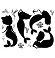 seaweed and mermaids black silhouettes vector image