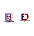set initial letter fd logo template design vector image vector image
