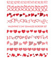 set of valentines day seamless borders vector image vector image