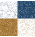 set summer seamless patterns with sea shells vector image vector image