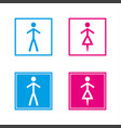 simple blue and pink wc symbols in empty and full vector image