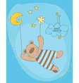 sleeping baby bear cute card vector image vector image
