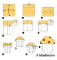 step instructions how to make origami a mushroom vector image vector image