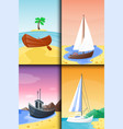 summer time boat vacation nature tropical beach vector image