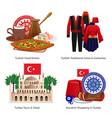 turkey tourism concept icons set vector image vector image