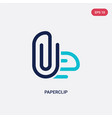 two color paperclip icon from education concept vector image vector image