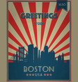 vintage touristic greeting card boston vector image vector image