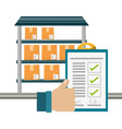warehouse checklist and thumb up vector image vector image