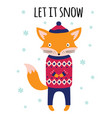 winter card with cute fox isolated on white vector image
